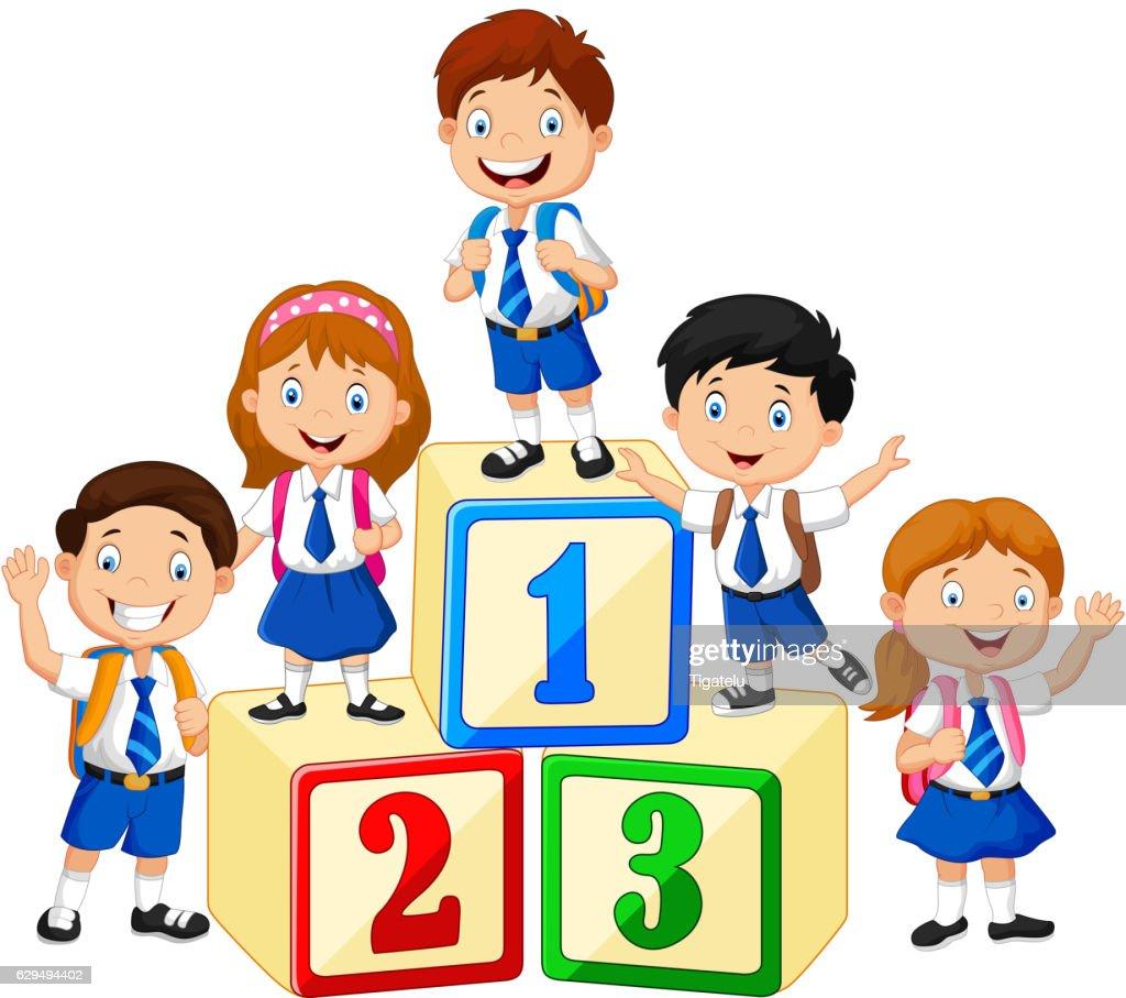 Little happy children with number block
