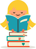 Little Happy Girl Read Fairy Tail Book Education Symbol Smiling