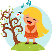 Little Happy Girl Sing Bird Tree Symbol Smiling Child Icon