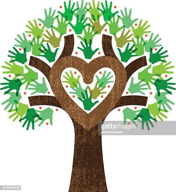 little heart tree hands illustration - family tree stock illustrations, clip art, cartoons, & icons