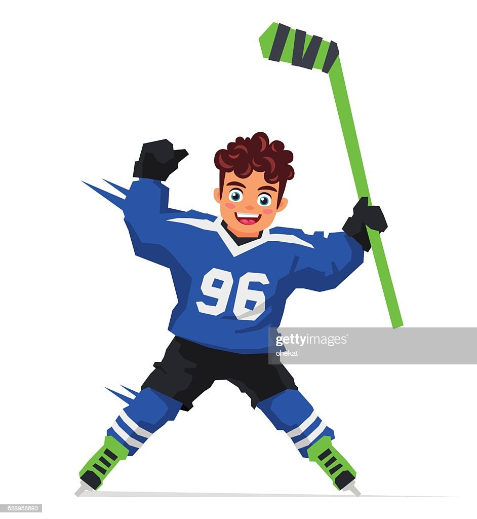 Little hockey player with a stick