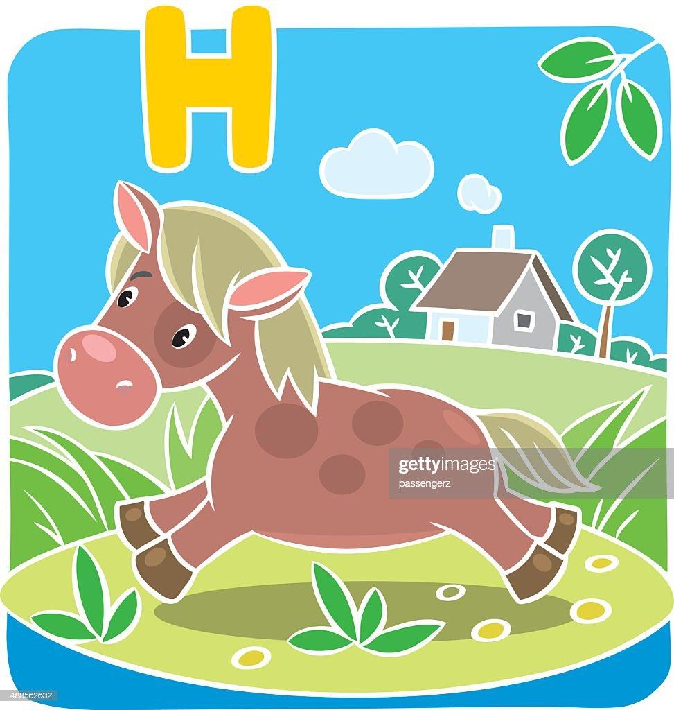 Little horse or pony. Alphabet H