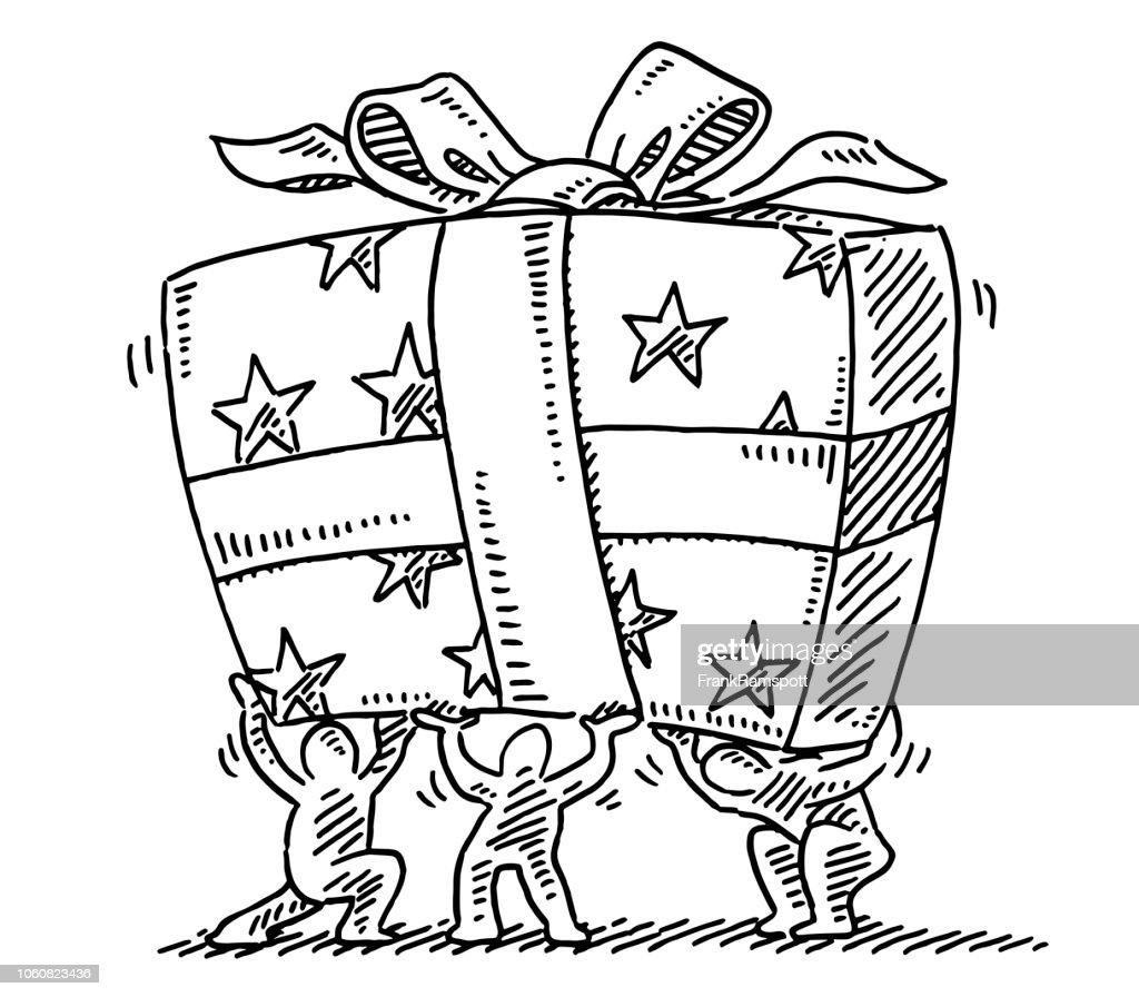 Wenig menschliche Figuren mit großen Geschenk-Box-Zeichnung : Vektorgrafik