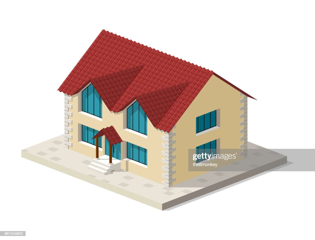 Little isometric house with shadow on white background. Real estate, rent and home concept. Vector illustration