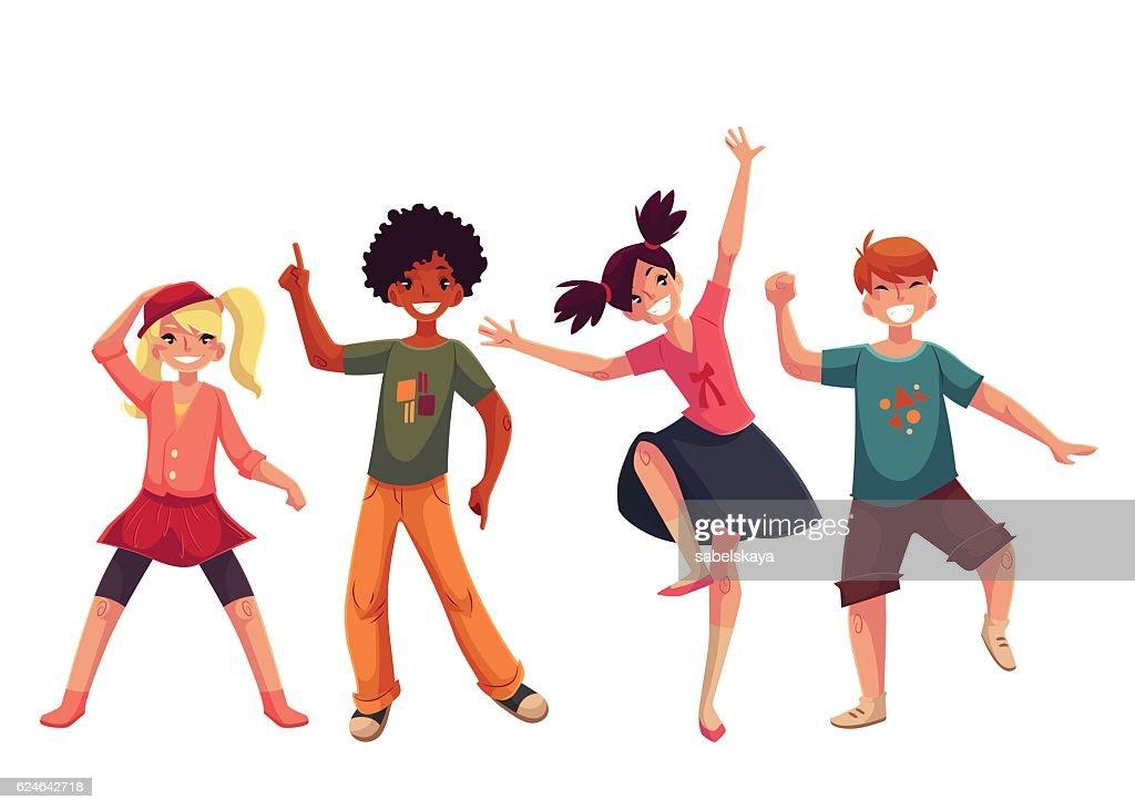 Little kids dancing expressively, cartoon style vector illustration