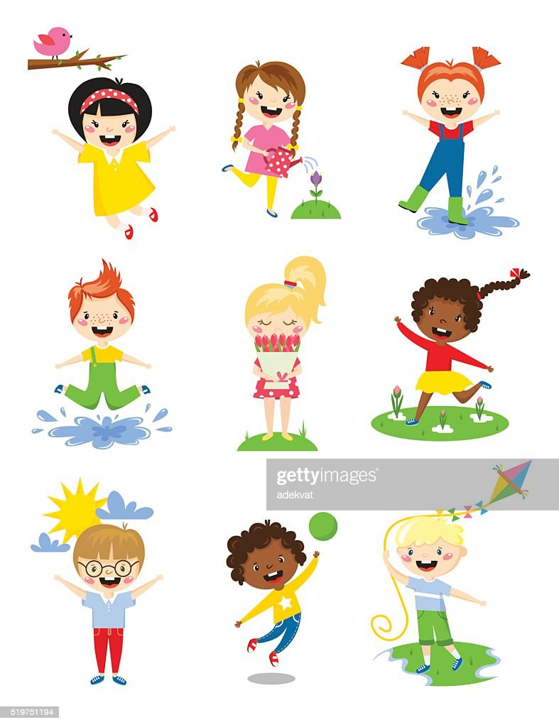 Little kids happy spring playing, watering flowers, jumping in puddle