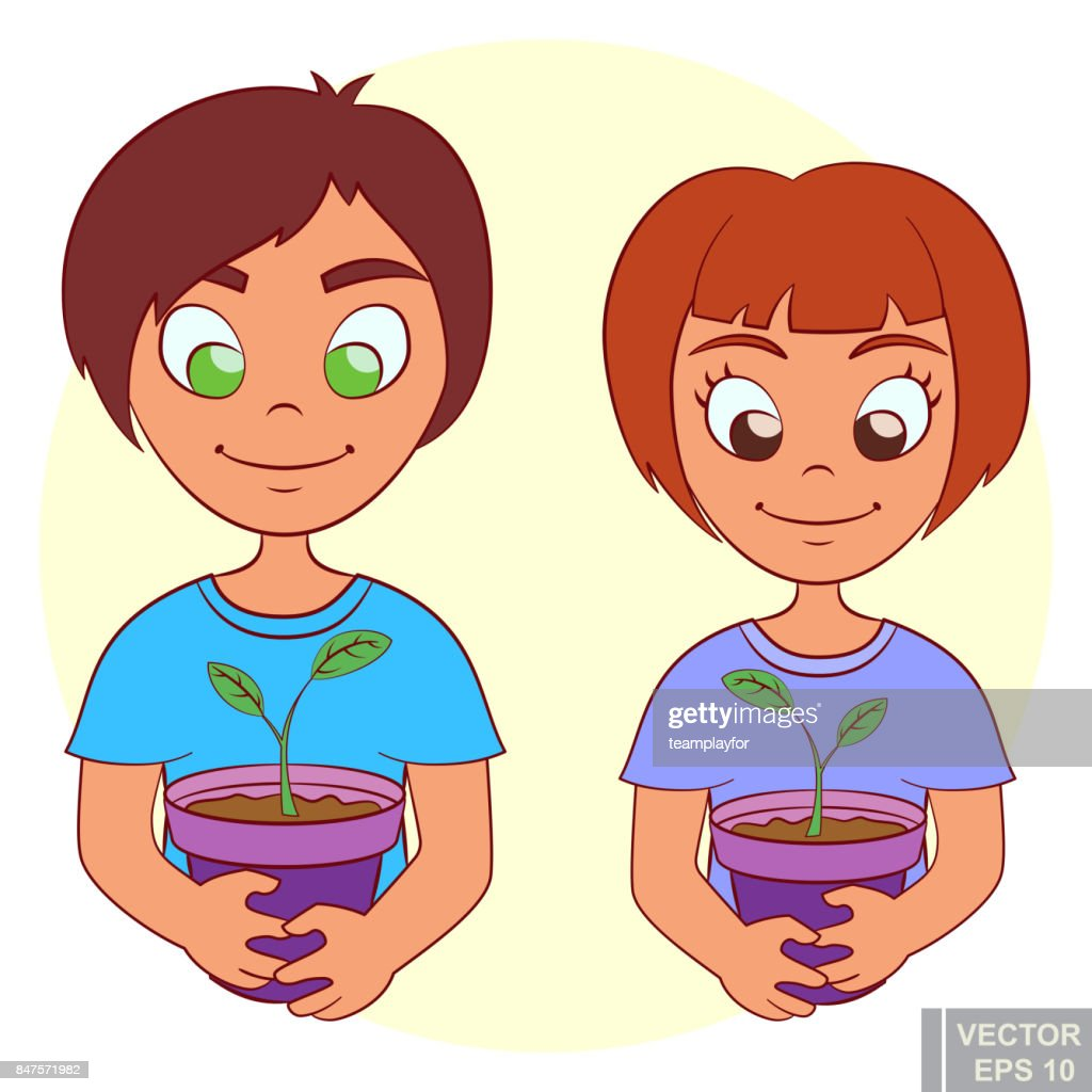 Little kids is holding pot with small plant gardening, garden children and ecology boy girl nature Flat cartoon vector illustration
