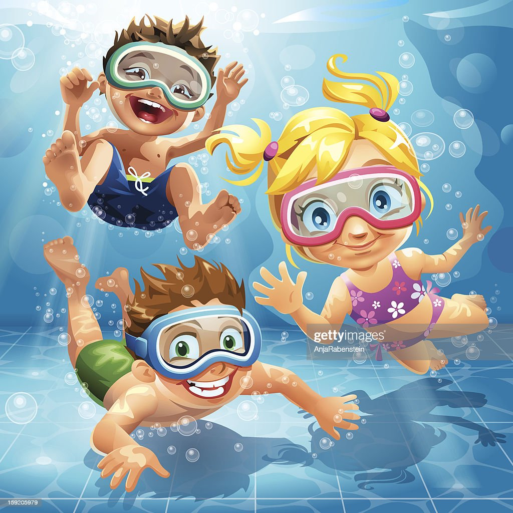 Little Kids Jumping Swimming And Diving In Pool Vector Art ...