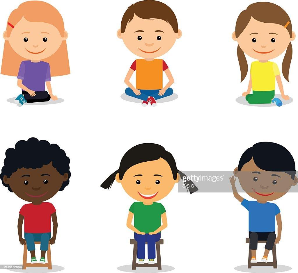 Little kids sitting