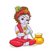 Little Krishna with a pot of butter. Happy Janmashtami greeting card