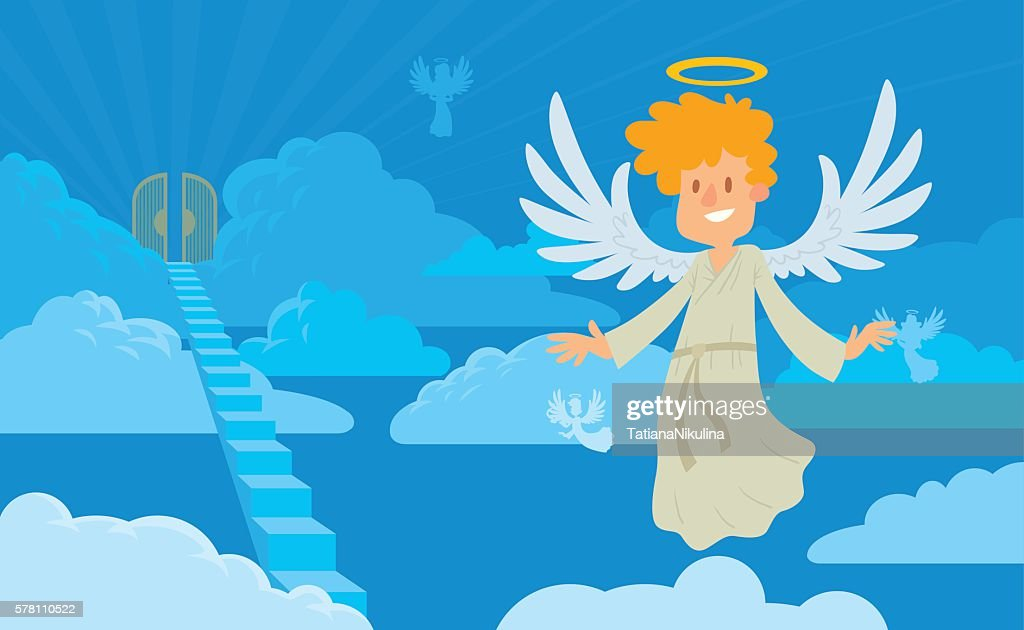 Little male angel with blond hair on a heaven background