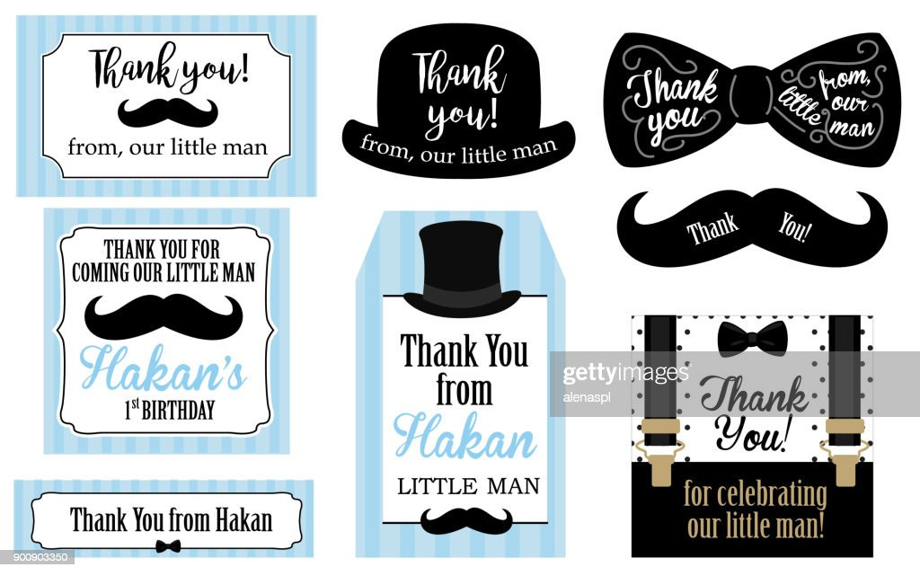 Little man birthday party ( Baby shower party) tags. Thank you favor card. Vector bow tie and suspenders.