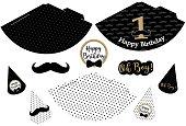 Little man printable hats. Black, white, golden mustache pattern. Print and cut.