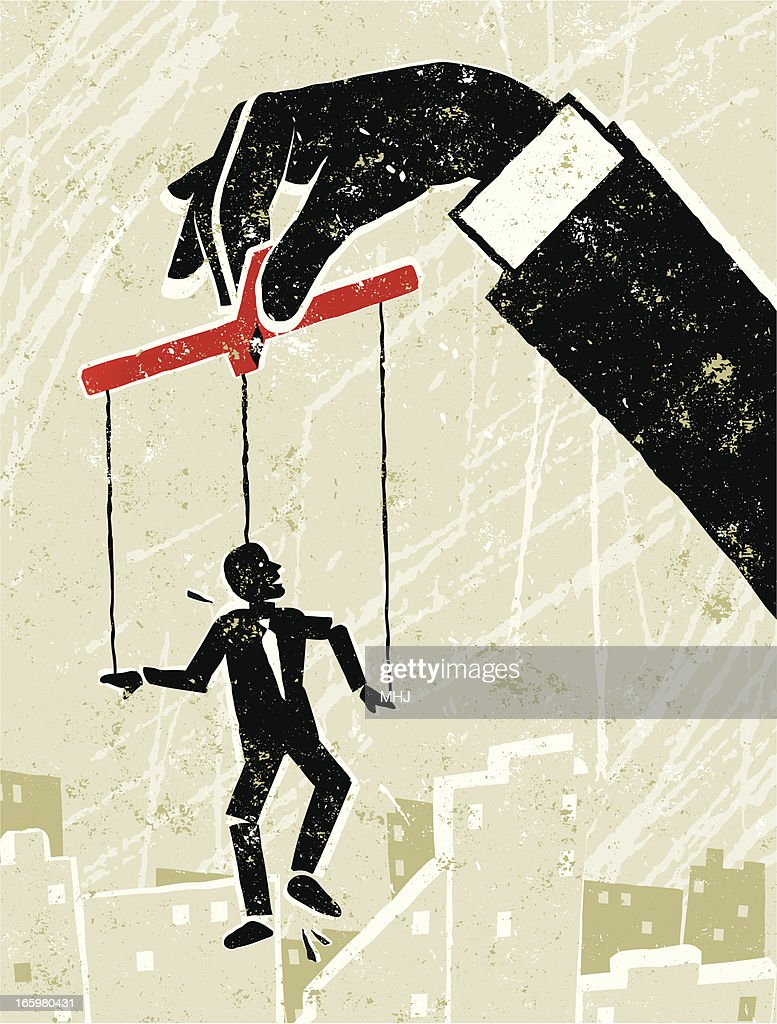 Little Man Puppet Manipulated by Giant Businessman's Hand : stock illustration