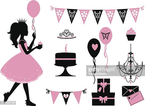 kleine party princess - prinzessin stock-grafiken, -clipart, -cartoons und -symbole