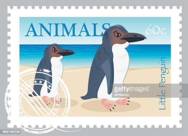 little penguin stamp - melbourne stock illustrations