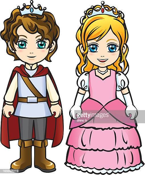 little prince and princess - princess stock illustrations, clip art, cartoons, & icons