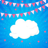 Little Princess Background with Flags and Cloud Vector Illustration