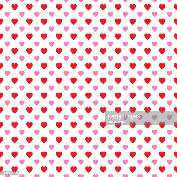 Little Rd And Pink Hearts Seamless Pattern
