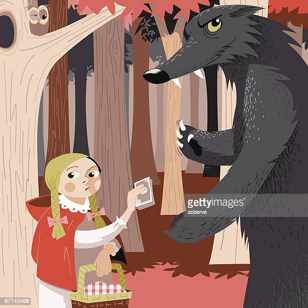 little red bussiness - little red riding hood stock illustrations, clip art, cartoons, & icons