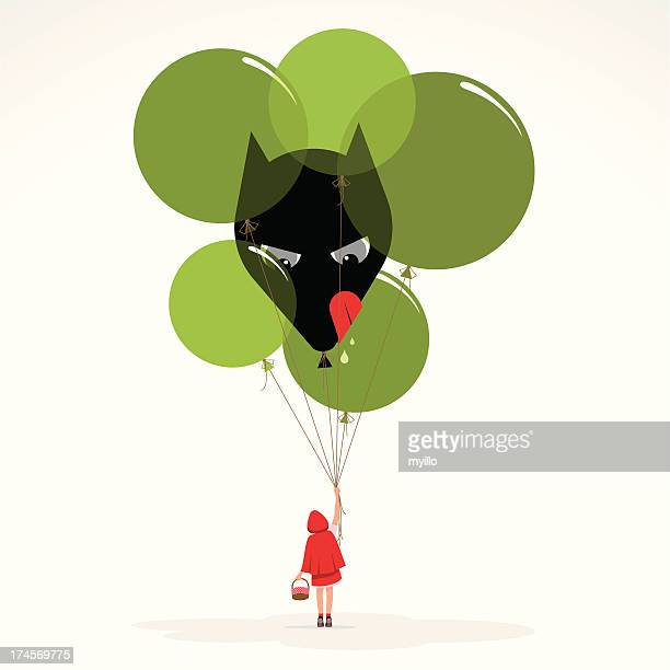little red hood wolf balloons girl evil illustration vector - little red riding hood stock illustrations, clip art, cartoons, & icons