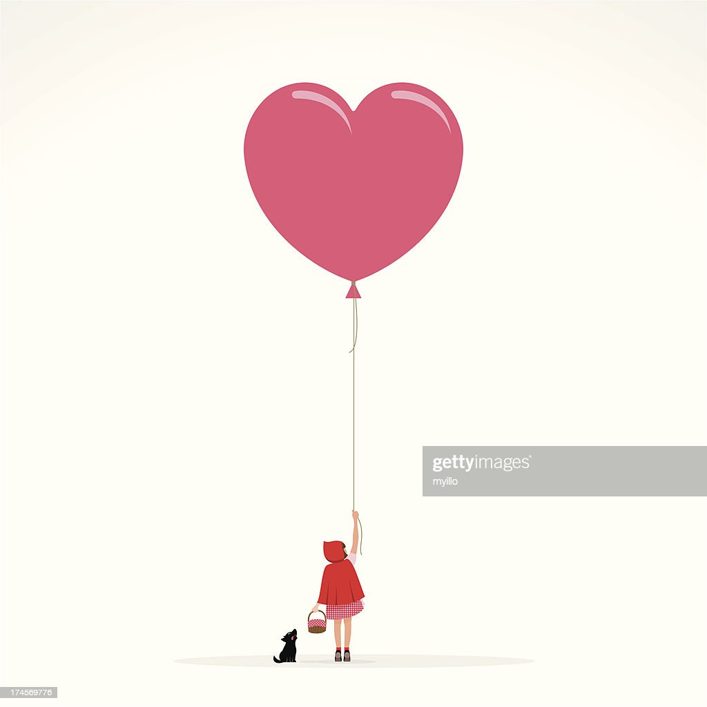 Little red hood wolf invitation girl balloon illustration vector