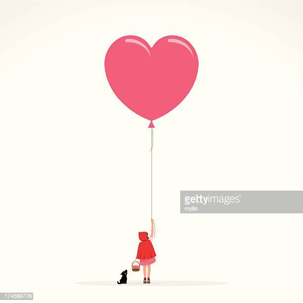illustrations, cliparts, dessins animés et icônes de petite fille à capuche loup rouge illustration vectorielle de faire-part - ballon de baudruche