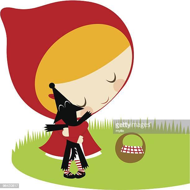 ilustrações de stock, clip art, desenhos animados e ícones de chapeuzinho vermelho e lobo amigos - chapeuzinho vermelho