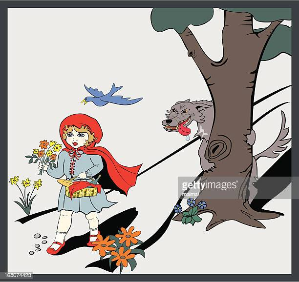 little red riding hood big bad wolf - fairy tale - little red riding hood stock illustrations, clip art, cartoons, & icons