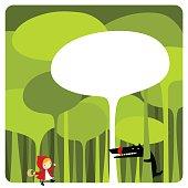 Little Red Riding Hood. cute kawaii illustration vector