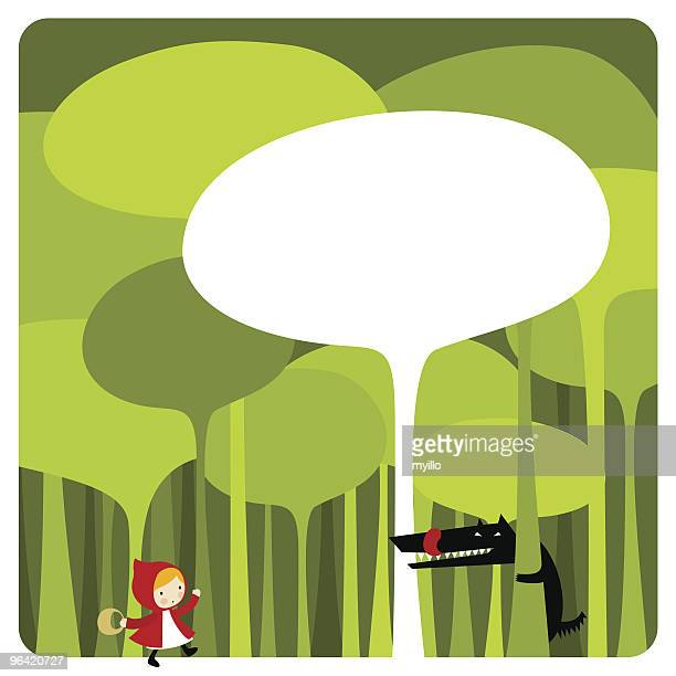 little red riding hood. cute kawaii illustration vector - little red riding hood stock illustrations, clip art, cartoons, & icons