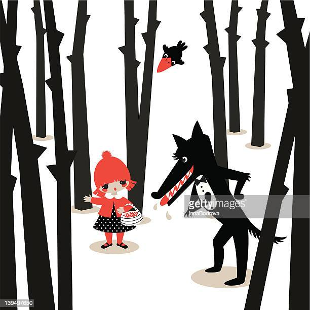 little red riding hood. - little red riding hood stock illustrations, clip art, cartoons, & icons