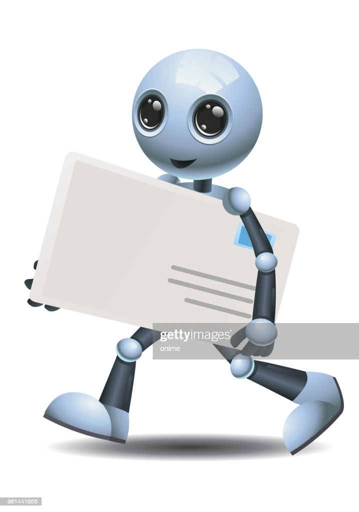 little robot delivering envelope