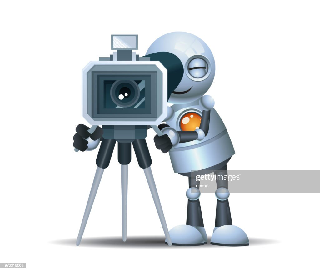 little robot hold movie camcorder to make film