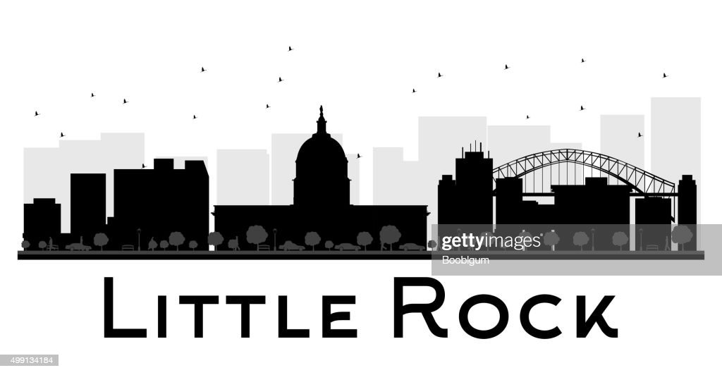 Little Rock City skyline black and white silhouette.