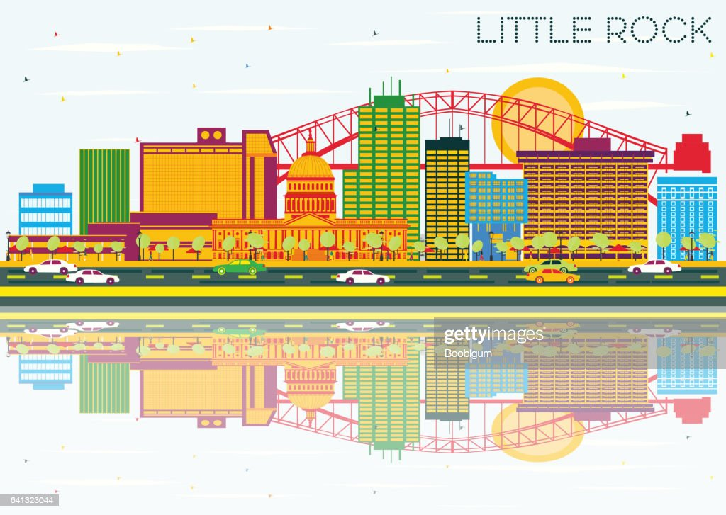 Little Rock Skyline with Color Buildings