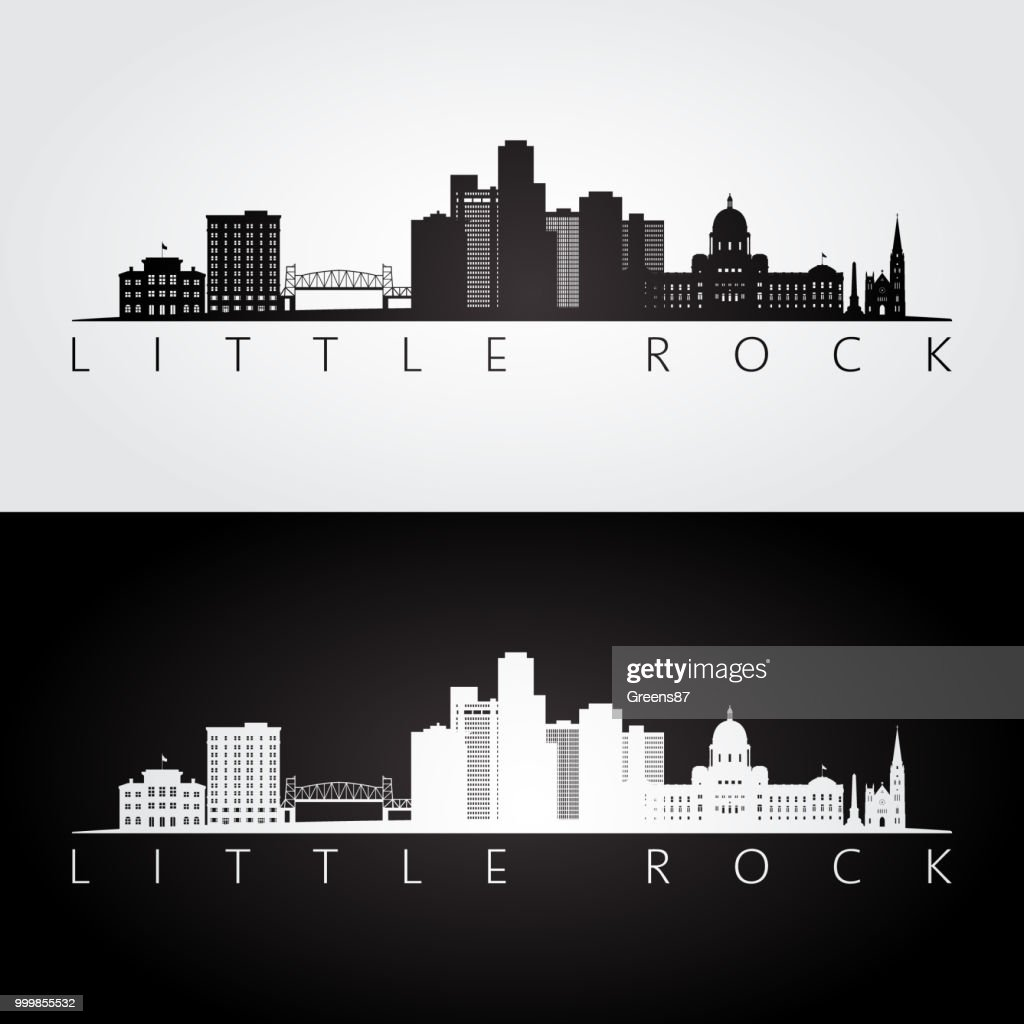 Little Rock, USA skyline and landmarks silhouette, black and white design, vector illustration.