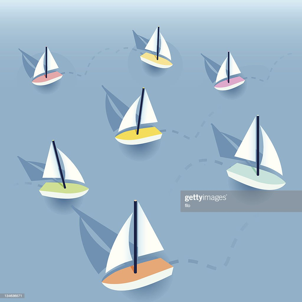 Little Sailboats : stock illustration