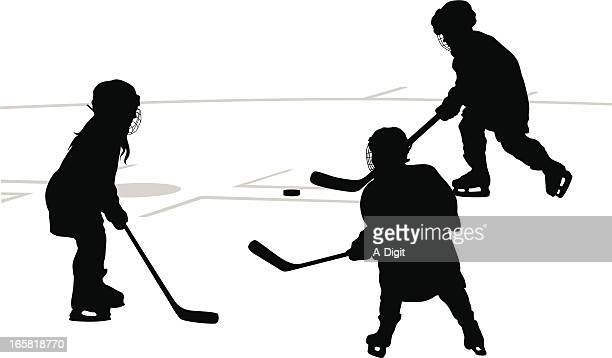 little skaters vector silhouette - hockey stock illustrations, clip art, cartoons, & icons