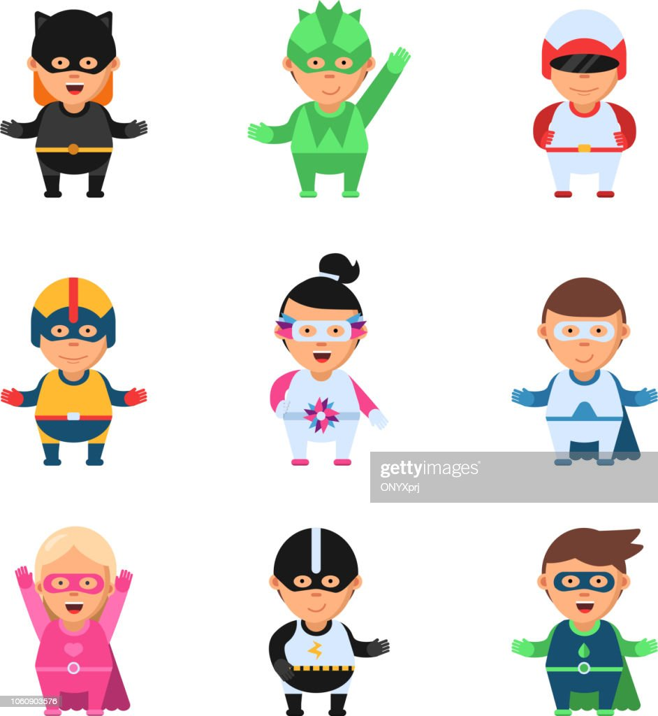 Little superheroes. Hero comic cartoon 2d figures of kids in colored mask game toy sprite vector characters isolated