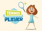 Little tennis player. Cartoon vector illustration