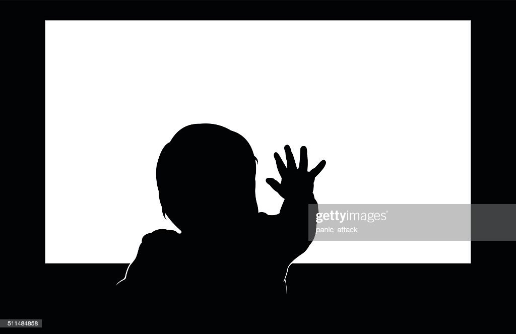 Little toddler touching blank television screen with his hand