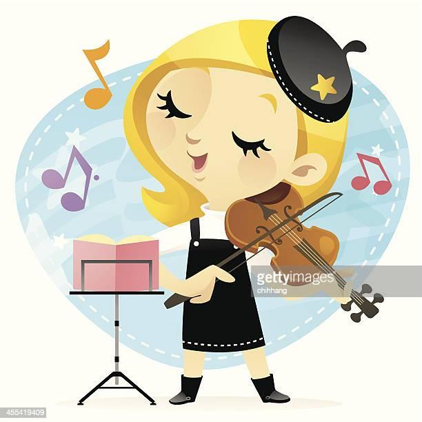 little violinist - violin stock illustrations, clip art, cartoons, & icons