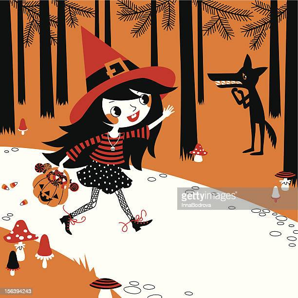 little witch and wolf. - little red riding hood stock illustrations, clip art, cartoons, & icons