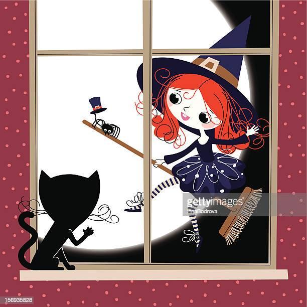 ilustraciones, imágenes clip art, dibujos animados e iconos de stock de little bruja, cat y la ventana. - bruja