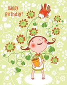 Little_Girl_Red_Bird_Birthday_Card