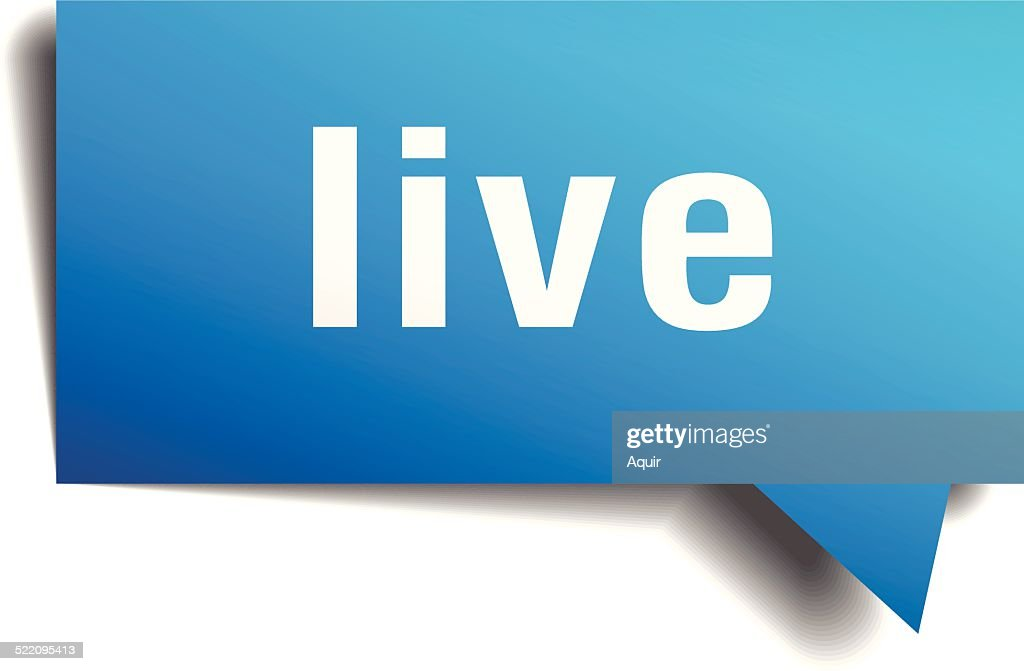 live blue 3d realistic paper speech bubble