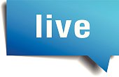 live blue 3d realistic paper speech bubble