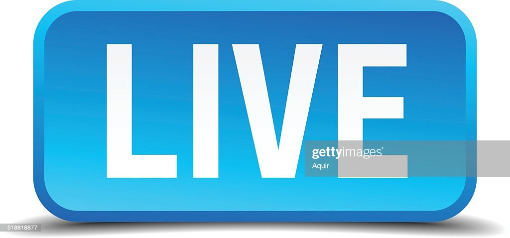 Live blue 3d realistic square isolated button