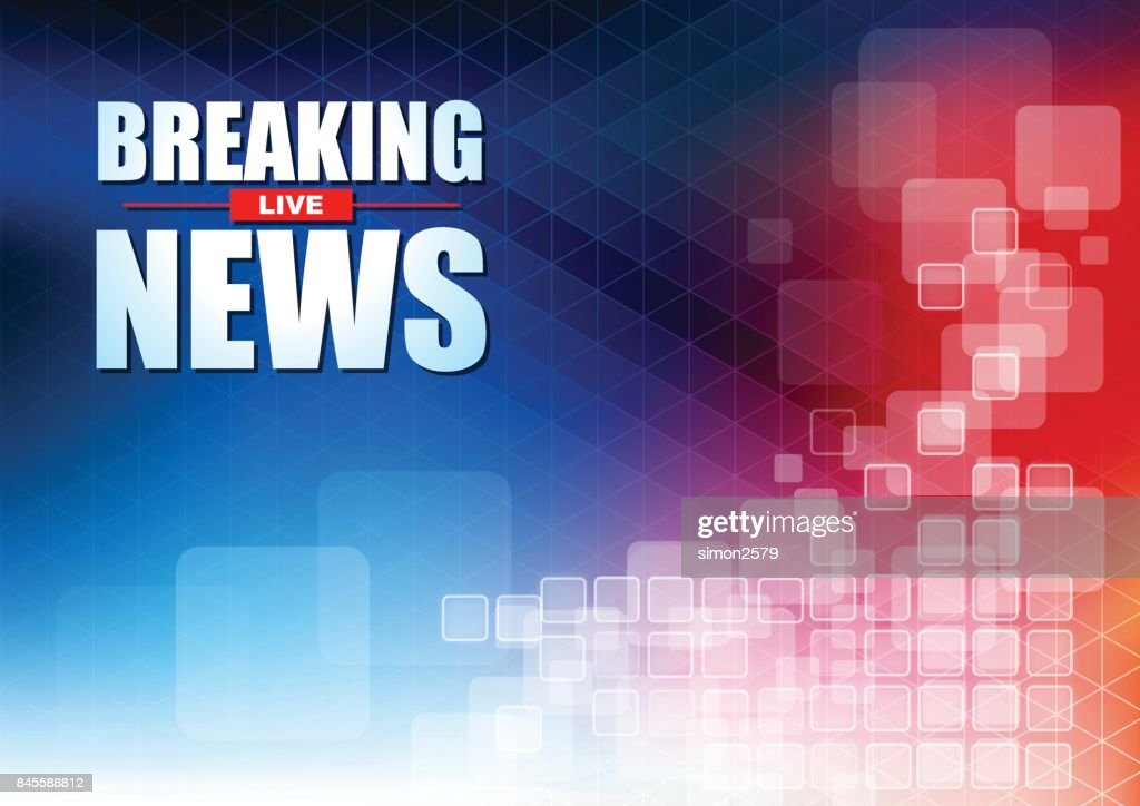 Live Breaking News Headline In Blue And Red Color Pixels ...